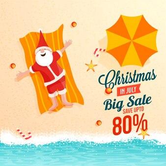 Kerst grote verkoop in juli banner, santa claus.
