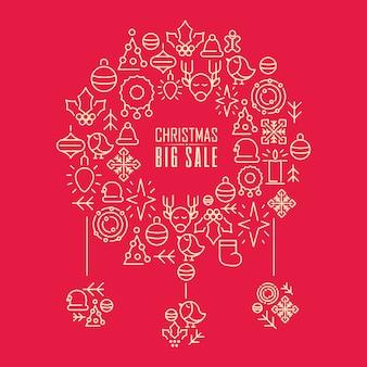 Kerst grote verkoop krans sjabloon met tekst over kortingen en drie mooie slingers op rood