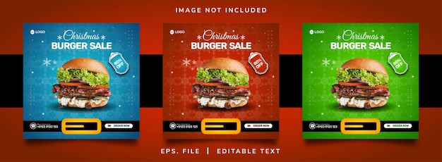 Kerst hamburger verkoop sociale media promotie en instagram banner post sjabloonontwerp