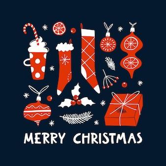 Kerst hand getekend ontwerpelementen. traditionele vakantiesymbolen. winter wenskaartsjabloon vector.