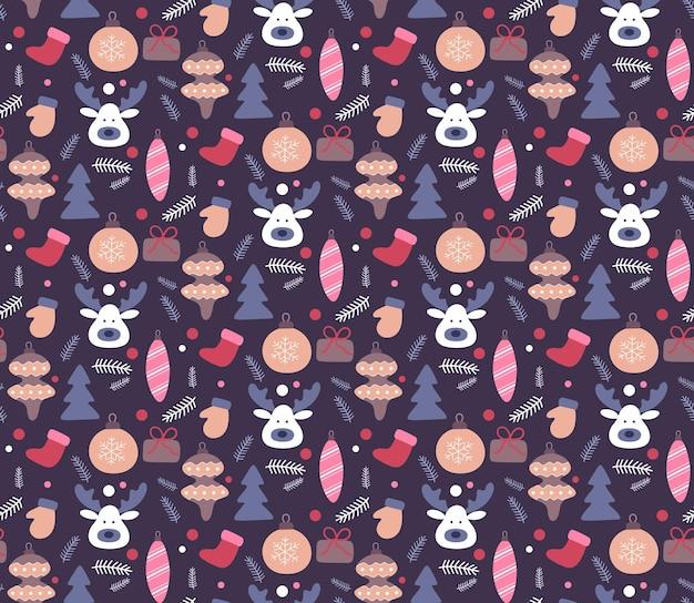 Kerst hand getekende naadloze patroon. doodles-stijl in donkere kleur. wintervakantie achtergrond, textuur voor behang, stoffen, inpakpapier. vector illustratie.