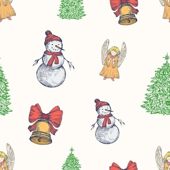 Kerst hand getekende vector naadloze achtergrondpatroon. klokken, sneeuwpop, engel en kerstboom schetsen kaart of voorbladsjabloon. feestdecoratiebehang voor inpakpapier of textielprint