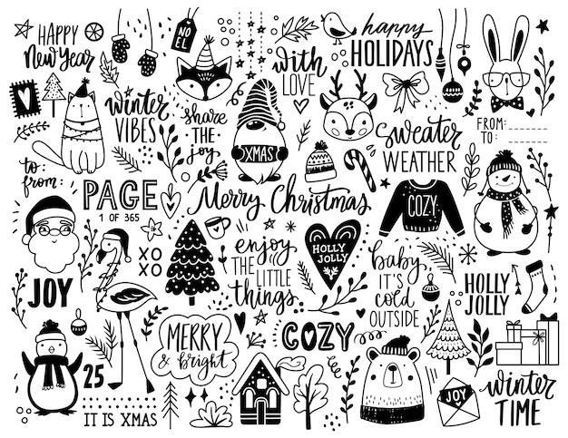 Kerst hand getrokken doodle illustratie.