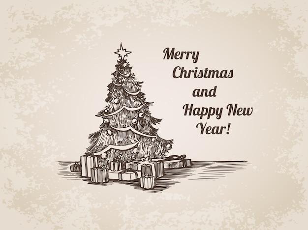 Kerst hand getrokken gravure illustratie