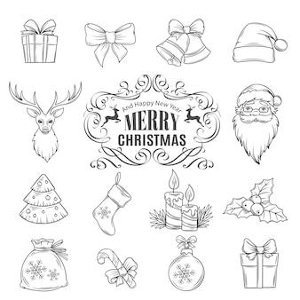 Kerst hand getrokken pictogrammen instellen.