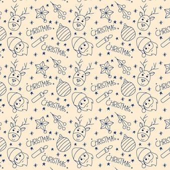 Kerst hand getrokken schets naadloos patroon