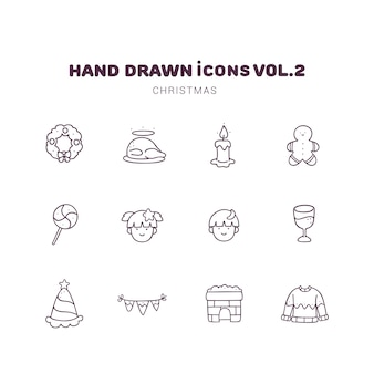 Kerst hand getrokken schets pictogrammen