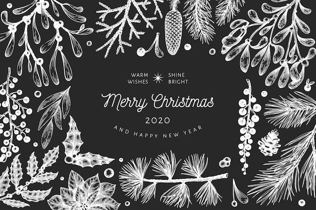 Kerst hand getrokken vector wenskaartsjabloon. vintage stijl winter planten illustratie op schoolbord