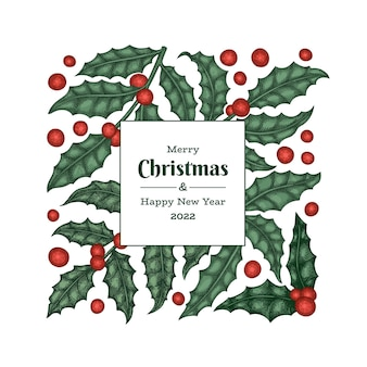 Kerst hand getrokken wenskaart ontwerpsjabloon. vintage stijl botanische illustratie. winter planten kerst.