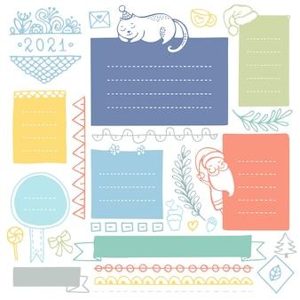 Kerst handgetekende kaders en elementen voor bullet journal, notebook, dagboek of planner.
