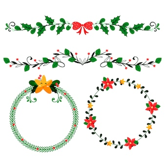 Kerst handgetekende kaders en randen