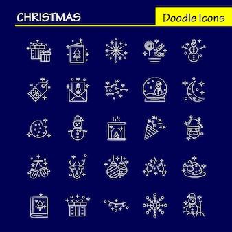 Kerst handgetekende pictogrammen