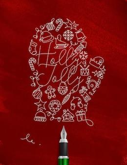 Kerst handschoen met belettering holly jolly tekening met pen lijn