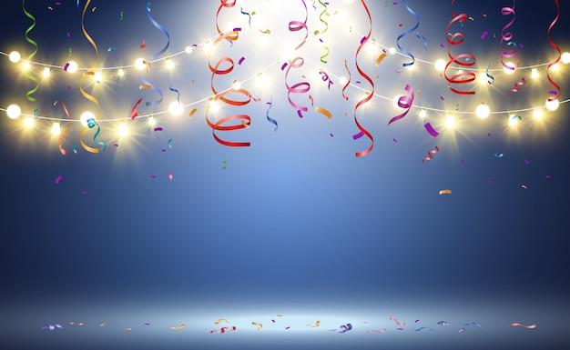 Kerst heldere, mooie lichten, designelementen. gloeiende lichten voor het ontwerpen van kerstkaarten. slingers, lichte decoraties.