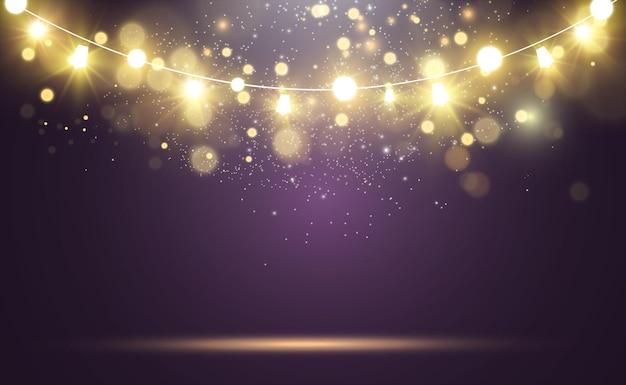 Kerst heldere, mooie lichten, designelementen. gloeiende lichten voor het ontwerpen van kerstkaarten. slingers, lichte kerstversieringen.