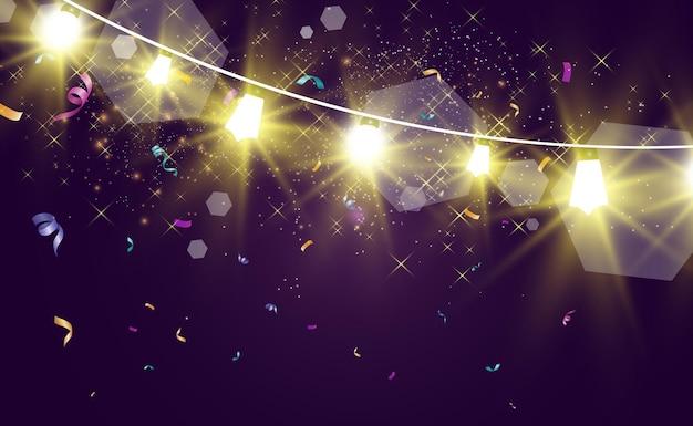 Kerst heldere mooie lichten ontwerpelementen gloeiende lichten voor het ontwerp van kerstgroet c