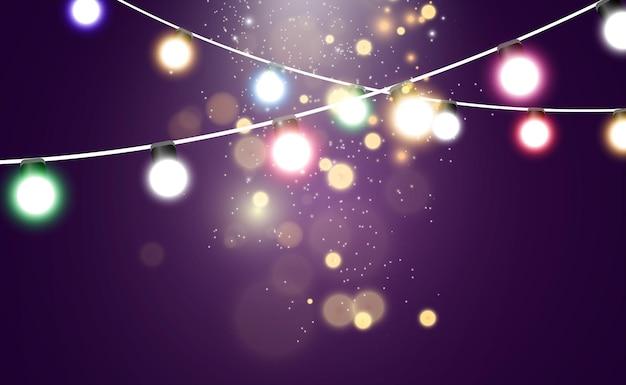 Kerst heldere mooie lichten ontwerpelementen gloeiende lichten voor het ontwerp van xmas