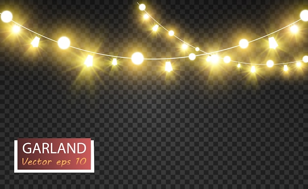 Kerst heldere mooie lichten ontwerpelementen gloeiende lichten