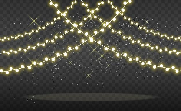 Kerst heldere, mooie verlichting, design elementen. gloeiende lichten voor het ontwerpen van xmas wenskaarten. slingers, lichte kerstversieringen.