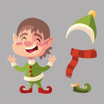 Kerst helper boot hoed sjaal cartoon karakter illustratie