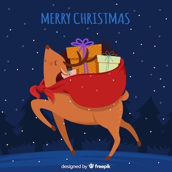 Kerst helper rendier afbeelding achtergrond