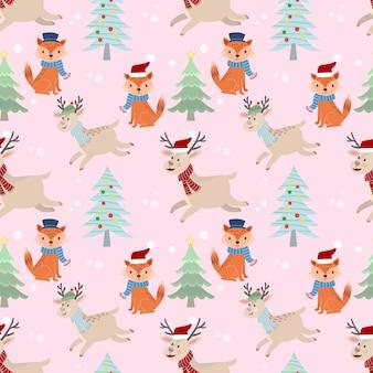 Kerst herten en fox naadloze patroon.