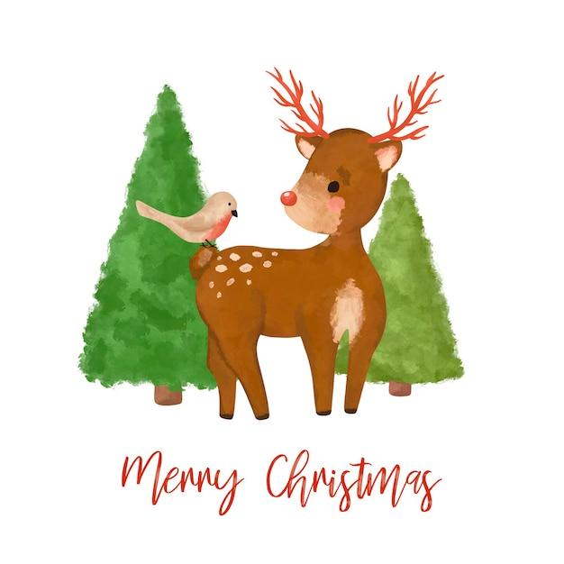 Kerst herten in bos illustraties illustratie
