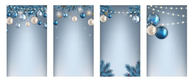 Kerst hilidat-achtergrond voor instagram stories post set