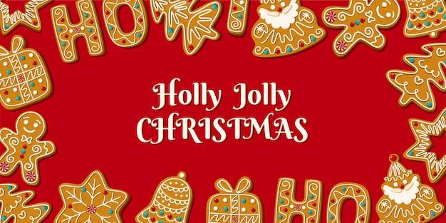 Kerst horizontale banner met zelfgemaakte peperkoek op een rode achtergrond.