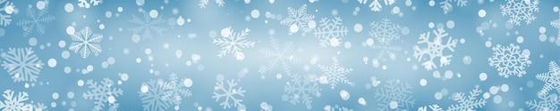 Kerst horizontale banner van sneeuwvlokken in verschillende vormen, maten en transparantie in lichtblauwe kleuren
