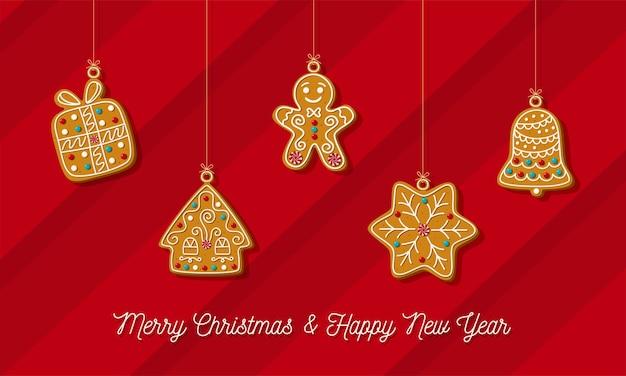 Kerst horizontale banner zelfgemaakte peperkoek op een rode achtergrond