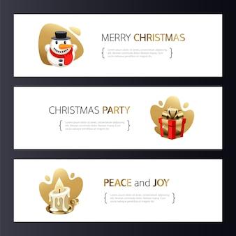 Kerst horizontale banners set met goud