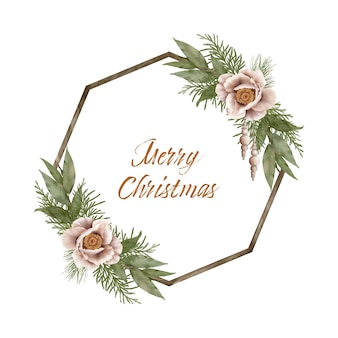 Kerst hout krans met ceder bladeren en winter bloemen