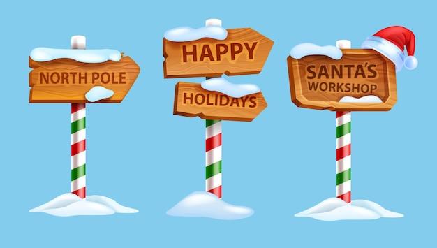 Kerst houten bord instellen vector winter noordpool postweg aanwijzer santa claus workshop