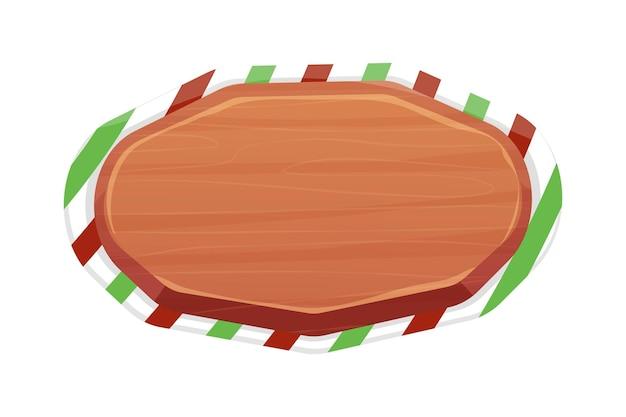 Kerst houten bord met strepen leeg frame in cartoon-stijl