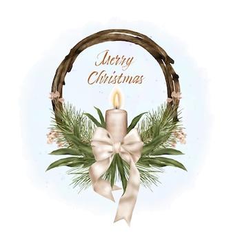 Kerst houten kroon met lint en kaars