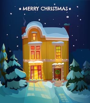 Kerst huis met sneeuw