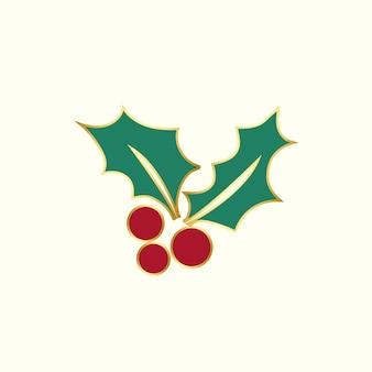 Kerst hulst bladeren ontwerp vector