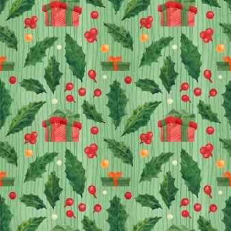 Kerst hulst groen patroon met geschenkdoos, getekende aquarel