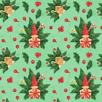 Kerst hulst groen patroon met kabouter en peperkoek huis en snoep stokken, getekende aquarel