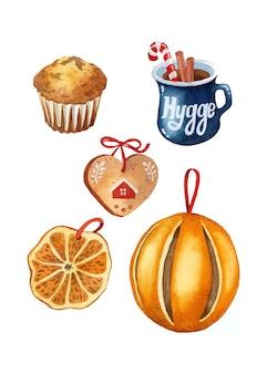 Kerst hygge voedsel aquarel elementen instellen