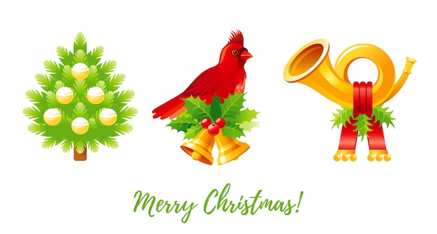 Kerst icon set. cartoon kerstboom, kardinaal vogel, jingle bells, posthoorn.