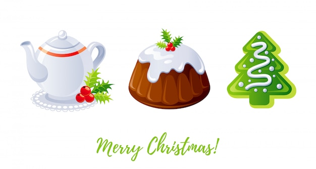 Kerst icon set. cartoon theepot, pudding, peperkoek cookie.