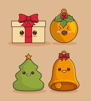 Kerst icon set, kawaii stijl