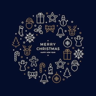 Kerst iconen elementen krans cirkel gouden witte blauwe achtergrond