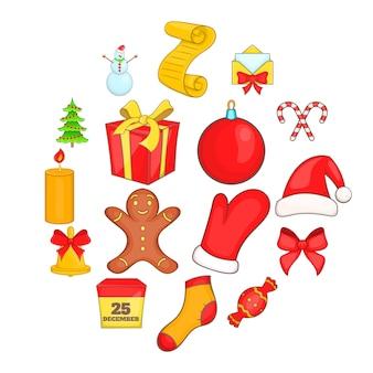 Kerst iconen instellen in cartoon stijl