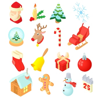 Kerst iconen instellen in isometrische 3d-stijl