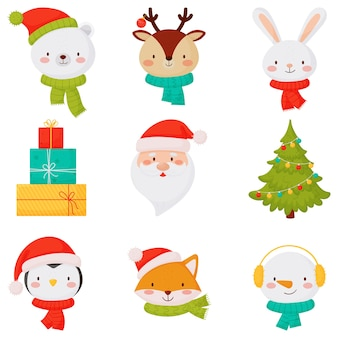 Kerst iconen met schattige kleine dieren, kerstman cadeau en kerstboom