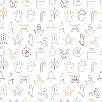 Kerst iconen naadloze patroon achtergrond