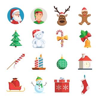 Kerst iconen set Premium Vector